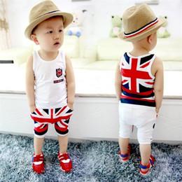 Wholesale Babies Singlets - Fashion Summer Baby Boys Clothes Sets Kids Sport Suits Flag Sleeveless T-Shirts Baby Clothing Vest Harem Pants Shorts Singlet