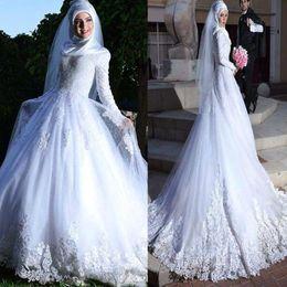 дубаи исламские свадебные платья Скидка С длинным рукавом мусульманский хиджаб свадебное платье зашнуровать обратно кружева аппликация исламская Дубай свадебные платья свадебные платья vestidos де novia