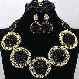 Wholesale Designed Gele - necklace jewelries set black crystal design beads necklace match for nigerian wedding african gele headtie aso ebi lace dress