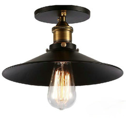Wholesale Pendant Shades - Industrial Retro Vintage Flush Mount LAMP Black Metal Shade Ceiling Pendant Lamp Loft America Light Fixture