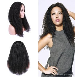 Wholesale Long Kinky Curl Wig - Top Quality European Human Hair Kinky Curl lace wigs, Natural Color Full Lace Wigs For African Women, curly lace front wig free shipping