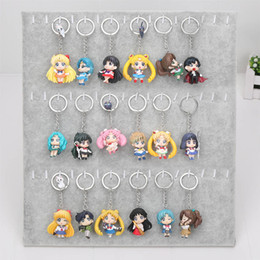 Wholesale Anime Action Figures - 6pcs set Anime Sailor Moon Keychain keyring mini figure Action figures toy with pendant toys approx 5cm with keyring