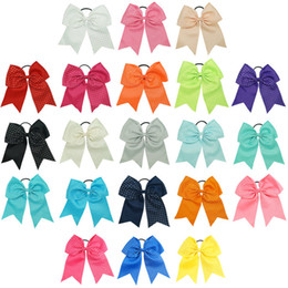 Wholesale Girl Headbands For Sale - Hot Sale 8 inch Half Rhienstone Cheer Bows Solid Ribbon Hair Accessories With Ponytail Hair Holders For Cheerleading Girls