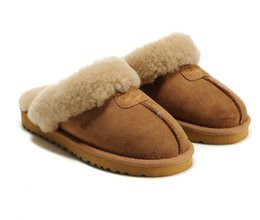 Wholesale Classic Chestnut - 2018 new Factory Outlet Australia Classic Women Men Cow Leather Snow Adult Slippers US5-13 Bag Logo pink sandy chestnut chocolate