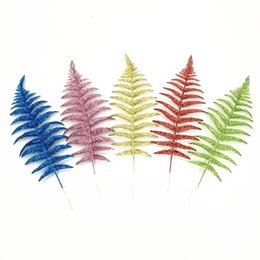 Wholesale Flowers Ferns - 40cm Golden Silver Glitter Fern Feather Artificial Flower Gilded Grass Christmas Flower Christmas Tree Decoration Accessories