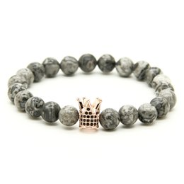 Wholesale Shiny Black Stone - 1PCS High Grade Jewelry Micro Inlay Black CZ Beads Crown Bracelets With 8mm Grey Picture Shiny Weathering Stone