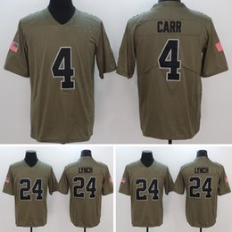 Wholesale Embroidery Services - Free Shipping Wholesale #24 Marshawn Lynch #4 Derek Carr Army Green Color Rush Olive Salute To Service Stitched Embroidery Limited Jerseys