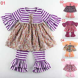 Wholesale Chinese Summer Pants - Children Clothing Spring Design Toddler Clothing Girls Outfits Boutique Stripe Baby Set   Children Outfit pant 5 sets