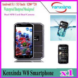 Wholesale Waterproof Phone India - Kenxinda W8 4G Smartphone 5.5 Inch Android 5.1 MTK6753 Octa Core 2GB RAM 16GB ROM Waterproof Mobile Phone Shockproof Cell Phone YX-W8-02