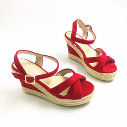 Wholesale Red Platform Wedge Sandals - women summer shoes platform wedges sandals red color small big size 30 to 43