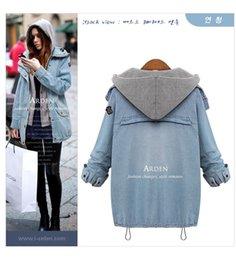 Wholesale Women Blue Jean Vest - Women Fashion Autumn Winter Two-Piece Hooded Vest Casual Loose Long Sleeve Jean Jacket