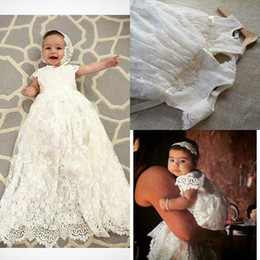 Wholesale Quality Communications - High Quality Lace Long Christening Dresses For Baby Girl Short Sleeves Baptism Gown Cheap Kid First Communication Dress With Beads Belt