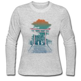 Wholesale Gray Combat Shirt - Vintage women's t-shirt painting printed long sleeve tees autumn & winter suited snug tshirts A Samurai Death Combat about to Begin