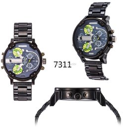 Wholesale Mens Large Dial Watch - 2015 new 7311 7312 Best-Selling Mens atmos Clock Leather Strap Watches Full Men Watch Steel Military Quartz Mens watches Large dial watch