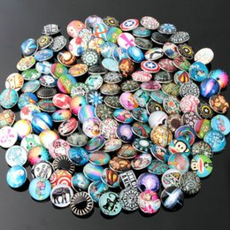 Wholesale Glass Diamond Buttons - 50pcs lot Cute cartton Glass Diamond Noosa Interchangeable Snap Buttons DIY Jewelry Accessory Ginger Snap Jewelry Mix styles Round 18mm