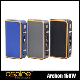 Wholesale Locking Battery Box - 100% Original Aspire Archon 150W TC Box Mod VW Dual 18650 Battery Mods With Logo Customization & Child Lock