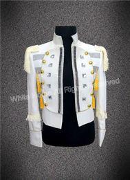 Wholesale Korean Tuxedo Jackets - Korean Suit Men White Tailcoat Jacket costume slim homme men tuxedo nightclub fashion Men Suits Brand Jacket Men Singer