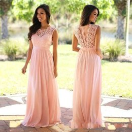 Wholesale Cheap Elegant Cocktail Dresses - Real Photos 2018 Lace Applique Elegant Coral Bridesmaid Dresses Wedding Guest Dress Sheer Back Zipper Sweep Train Chiffon Cheap Formal Gown
