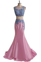 Wholesale Taffeta Trumpet Button Back - Sexy Two Pieces Vintal Formal Evening Dresses 2016 Free Shipping Taffeta Scoop Long Mermaid Prom Dresses Robe De Soiree