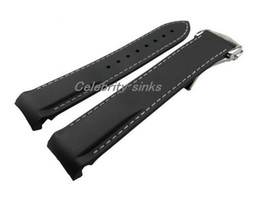Wholesale Watch Band 18mm White - 20mm (Buckle 18mm) New Top Grade Black and White line Waterproof Diving Silicone Rubber Watchband Straps with Silver buckle For Omega Watch