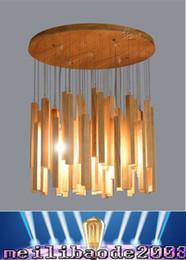 Wholesale Rain Ceiling Lights - Hot Selling LED Wood Pendant Lamp 220V Creative Meteor Rain Ceiling Light Meteoric Shower Stair Light D40  D60 80cm MYY