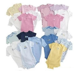 Wholesale Organic Baby Clothes Free Shipping - Wholesale --- Baby Rompers Body Suit Baby One-Piece Rompers Short Sleeve Romper Onesies 100% Cotton Baby Clothing 0-24m Free Shipping!