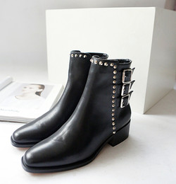 Wholesale Buckle Shorts - fashionville* u646 40 genuine leather belt stud pointy flat short boots black women fashion autumn shoes casual