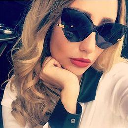 Wholesale Glasses Sun Female - FUE Fashion Lady Rimless Cat Eye Sunglasses Women 2017 New Italy Brand Designer Integrated Eyewear Mirror Sun Glasses For Female RA008