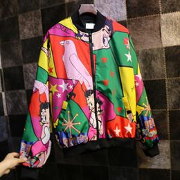 Wholesale Japan Women Jacket - Wholesale- Cool Japan Designer Harajuku Girls Spring Autumn Clothing Full Printed Stylish Women Jackets for Sale Veste Femme Manche Longue