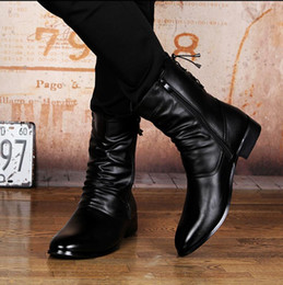 Wholesale Men Pointed Short Boots - New Style Fashion Men Boots Genuine Leather Casual zipper Pointed Toe Mid Calf Shoes Men Short Boots Motorcycle Cowboy Boots
