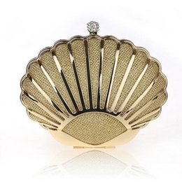 Wholesale Silver Prom Clutches - Mini Conch Bridal Handbags Women's Prom Party Evening Clutches Purse Bags Shinning Luxury Gold Silver Multiple Colors Dress Accessories