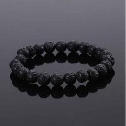 2019 bracciali in pietra nera New Fashion Unisex Black Beads Beaded Rock Bracciale elastico Bracciale regalo Mens Retro Lava Stone Spedizione gratuita sconti bracciali in pietra nera