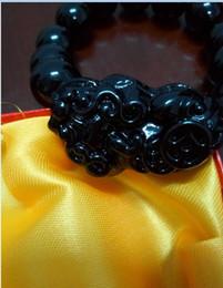 Wholesale Men Bracelet Jade - Manufacturers selling black stone needle the mythical wild animal bracelet with the natural black stone needle chain Men and women bracelet!