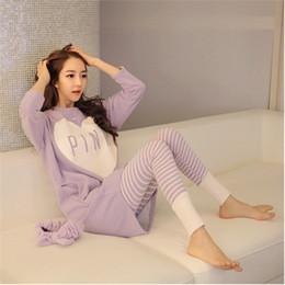 Wholesale Sleepwear For Women Free Shipping - Wholesale- Free shipping Pajama Sets O-Neck Long Sleeve women Sleepwear autumn winter Pajamas Women nightwear for women M-XL drop shopping