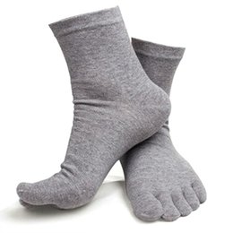 Wholesale Pure Cotton Socks Toes - Wholesale-5Color 1pair Men Cotton Toe Socks Pure Sports Five Finger Socks Comfy Breathable LH6s
