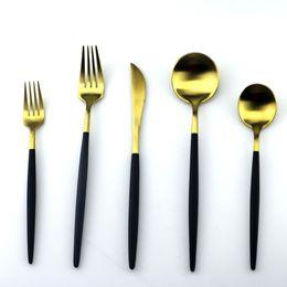 Wholesale Chopstick Spoon Fork - 5Pcs Lot Black Handle Cutlery Set 18 10 Stainless Steel Dinnerware Set Fork Knife Silverware Set Home Tableware Dessert Fork