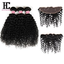 Wholesale Brazilian Kinky Lace Closure - 8A Brazilian Kinky Curly Lace Frontal Closure with Bundles Brazilian Virgin Hair With Closure HC Hair 3 Bundles With Lace Frontal