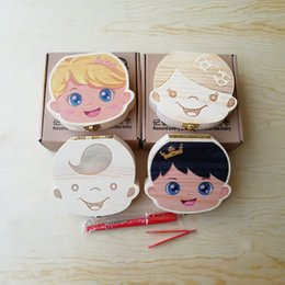 Wholesale Baby Boys Images - Wholesale-Tooth Box for Baby Save Milk Teeth Boys Girls Image Wood Storage Boxes Creative Gift for Kids Travel Kit
