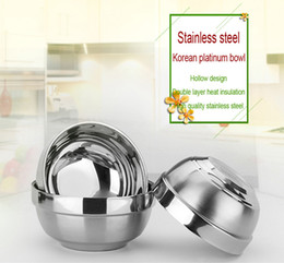 Wholesale Rice Steel Bowl - Stainless Steel Double-Deck Heat Insulation Bowl Anti Scald For Children Household Rice Bowl Korean Noodles Bowl