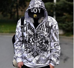 Wholesale Oversized Cardigans - New hip-hop male oversized sweater plus fertilizer to increase the printing loose hooded cardigan jacket W02