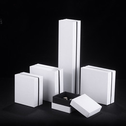 Wholesale Earring Packing Boxes - White Paper Jewelry Packing Box Luxury Top Bottom Cardboard Box Ring Earring Pendant Bangle Bracelet Packaging Boxes