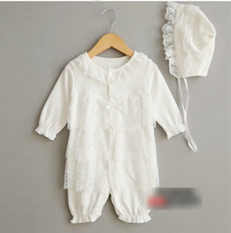 white one piece girl 2018 - Christening New Born Romper Baptism Babies Girl Lace Romper + Hat Cotton Kids Clothes Baby Girls One-piece Rompers Jumpsuit K7620