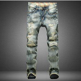 Wholesale Overalls Male - Ripped men jeans frayed male destroyed Slim biker jeanscasual skinny holesdenim pants washed yellow color swag overalls trousers