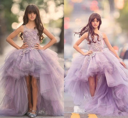 Wholesale Cheap Kids Ball Gown Dresses - New 2017 Girls Pageant Dresses Princess Tulle High Low Length Lace Appliques Lilac Kids Flower Girls Dress Ball Gown Cheap Birthday Gowns