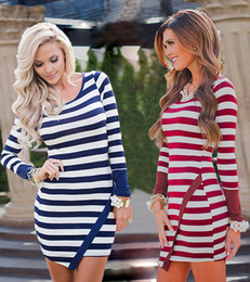 Wholesale Long Asymmetrical Stripe Dresses - 2016 Autumn And Winter Long Sleeve Irregular Stripe Package Buttocks Self-cultivation Mini- Dress Bodycon Dresses For Womens