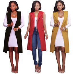 Wholesale Blazer Red For Women - Vest female red yellow black women open stitch pockets jacket woman vests 2017 New long waistcoat fashion blazer for female