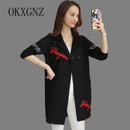 All'ingrosso- OKXGNZ Primavera Donna Abbigliamento 2017 Corea New Fashion Big Yards Cappotto per il tempo libero Cardigan per maglieria Abito medio lungo Cappotto QQ113 da