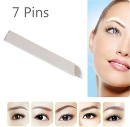 Wholesale Embroidery Eyebrow - 50pieces 7 pin Permanent Makeup Eyebrow Tatoo Blade Microblading Needles For 3D Embroidery Manual Tattoo Pen Machine