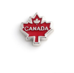 Wholesale Maple Leaf Charms Wholesale - 20pcs lot Red Canada Maple leaf Charms for Floating Locket