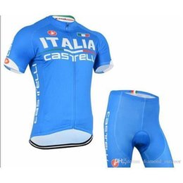 Wholesale Italia Cycle Jersey - ITEMS Italia cycling jerseys blue color short sleeves cycling jersey bib none set breathable padded bike clothing size XS-4XL bike wear